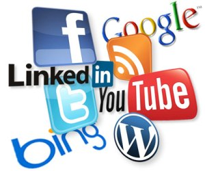 Image of various social media logos, including Facebook, Google, LinkedIn, Twitter, YouTube, Bing and WordPress.