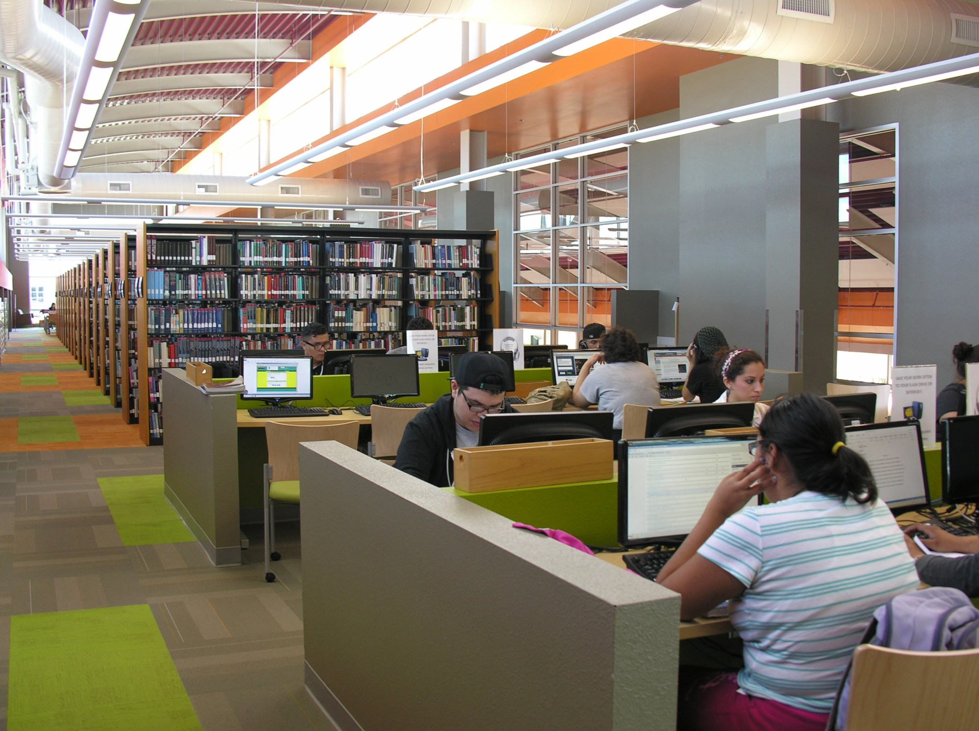 Students work on assignments in the renovated Ozuna Library and Learning Center.