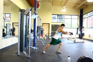A Palo Alto student works out in the new Fitness Center. Photo by Zachary Mastroianni.