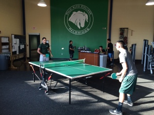 Miguel Frausto and James Sanchez play ping-pong in the Fitness Center. Photo by Crystal C. Valentin