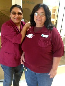 Dolores Flores (left) and Marie Martinez (right) are two of Palo Alto's custodians.