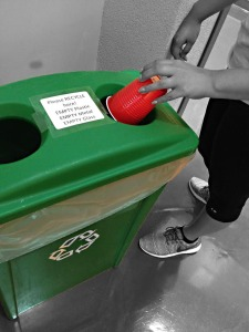 Palo Alto student recycling. Photo by Nia Jaramillo