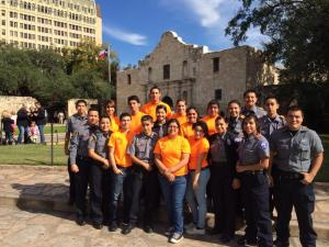 Pictures are students from the Palo Alto Explorer program as they pose in front of the Alamo    Photo contributed by the San Antonio Southside Explorers