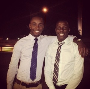 Photo of Kendal Williams and Nathaniel Scott at Nathaniel's high school graduation in June 2014. Both now attend Palo Alto College.