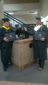 Photo of Anthony Alvarado (pictured on the right) after graduating from Texas A&M University at Kingsville.