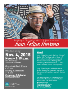 Photo of Juan Felipe Herrera, the first Latino U.S. Poet Laureate will present at Palo Alto College.