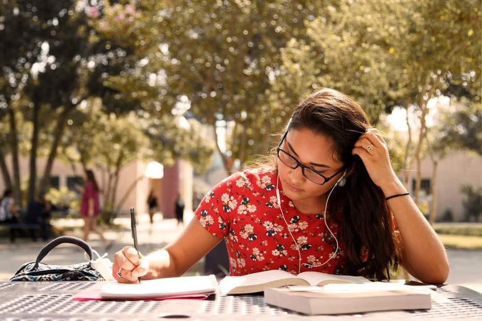 Photo of a Palo Alto college student studying.