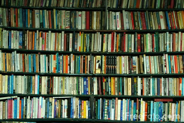 Photo of book shelves with colored spines.