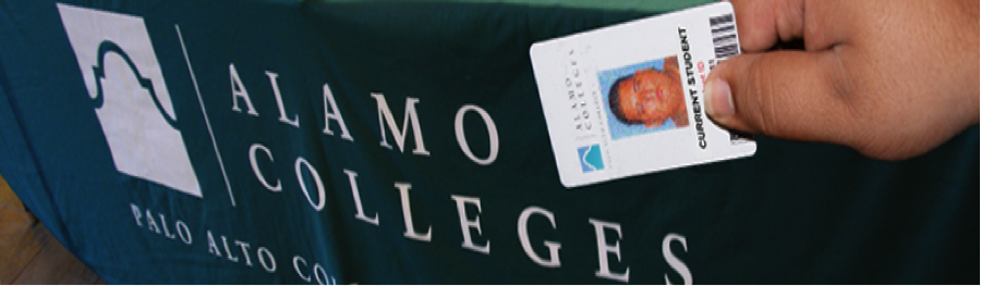 Photo of a Student ID in front of an Alamo Colleges tablecloth