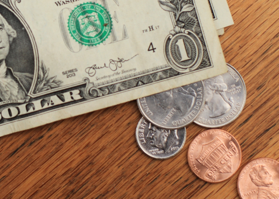 Photo of dollar bills and change