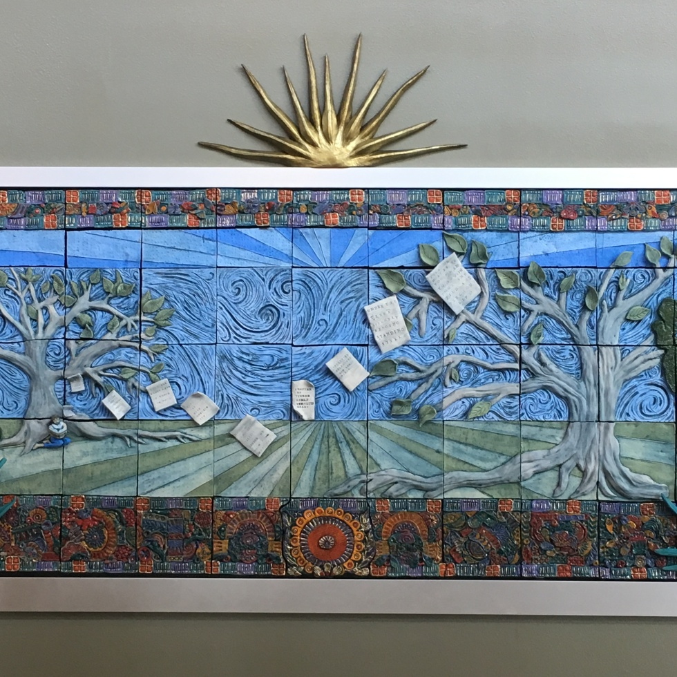 Photo of a mural created by PAC ceramics and sculpture students.