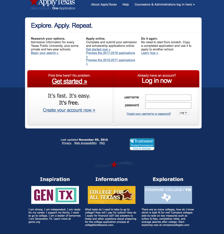 Screen shot of the Apply Texas website.