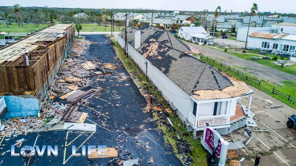 Aftermath of Hurricane Harvey in Rockport, Texas.