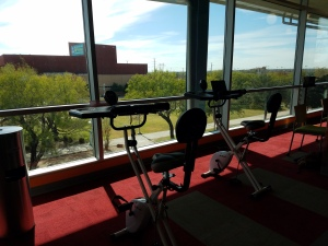 Picture yourself here! Study and work out at the same time in the Ozuna Library. Photo by LeAnne Noguess.
