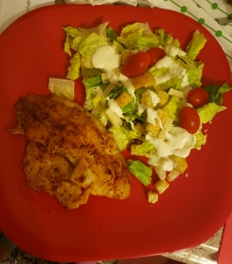 Photo of a plate of food: chicken breast with fresh green salad and tomatoes.